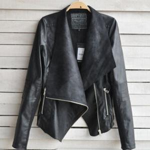2014 New Arrival Women Leather Jacket Slim Leather Motorcycle Jacket Turn Dow Long Sleeve Zipper Jacket Coat S-XXL
