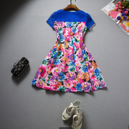 Hollow out printing bowknot dress w..