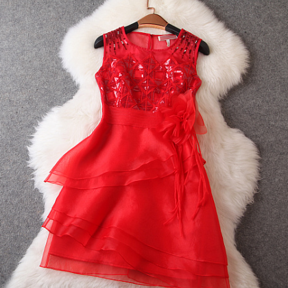 Slim sequined embroidered organza dress skirt dress--red