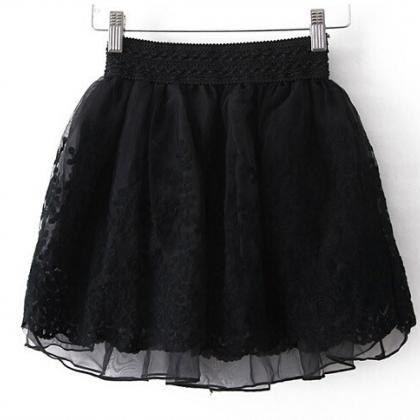 Short Circle Skirt featuring Lace E..