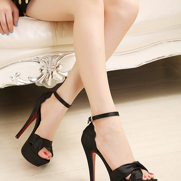 Sexy satin high-heeled sandals--bla..