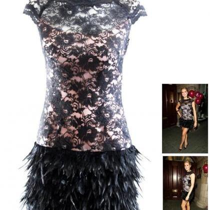 Sleeveless Lace Feather Dress