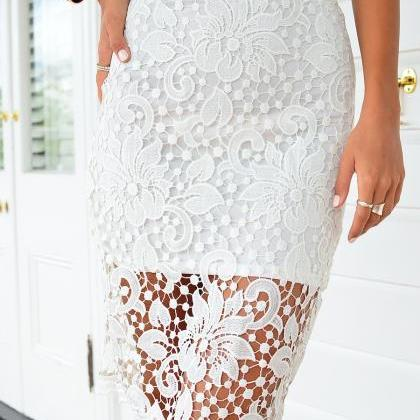 Lace Knee Length Pencil Skirt with ..