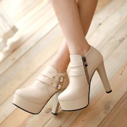 Round Toe High Heels Platform Rivet..