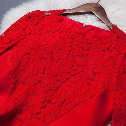 Red long sleeve lace hollow out the..