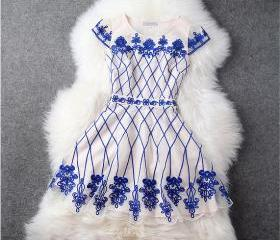 Fashion Designer Gorgeous Embroidered Lace Dress - Blue