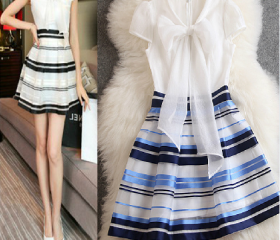 Sweet bowknot stripe dress cultivate one's morality princess dress with short sleeves