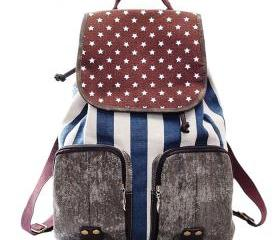 Fashion Star Striped Print Canvas Backpack