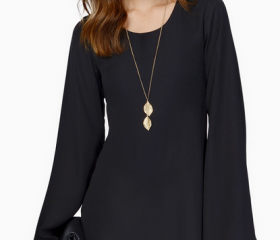 Lace hem chiffon long-sleeved dress--black