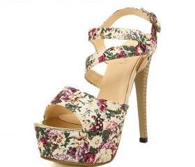 Women's Floral Print Strap Peep Toe Platforms Heeled Sandals With Assymetric Cut