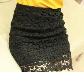 High Waisted Black Lace Mini Skirt