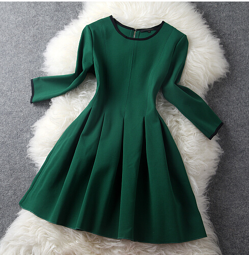 Retro Long-Sleeved Dress