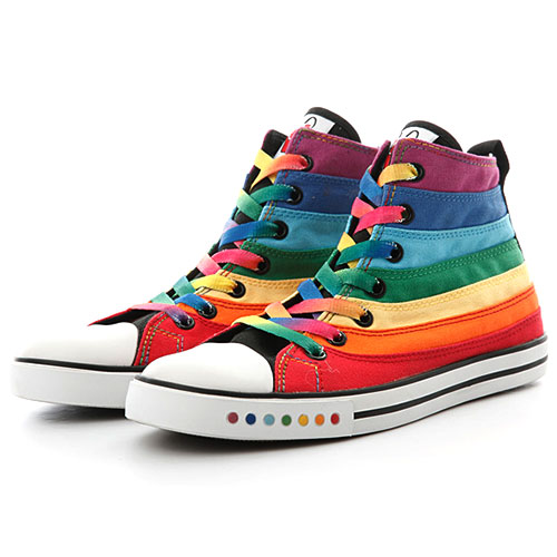 Mixed Color Stripe Flats High Top Canvas Sneaker