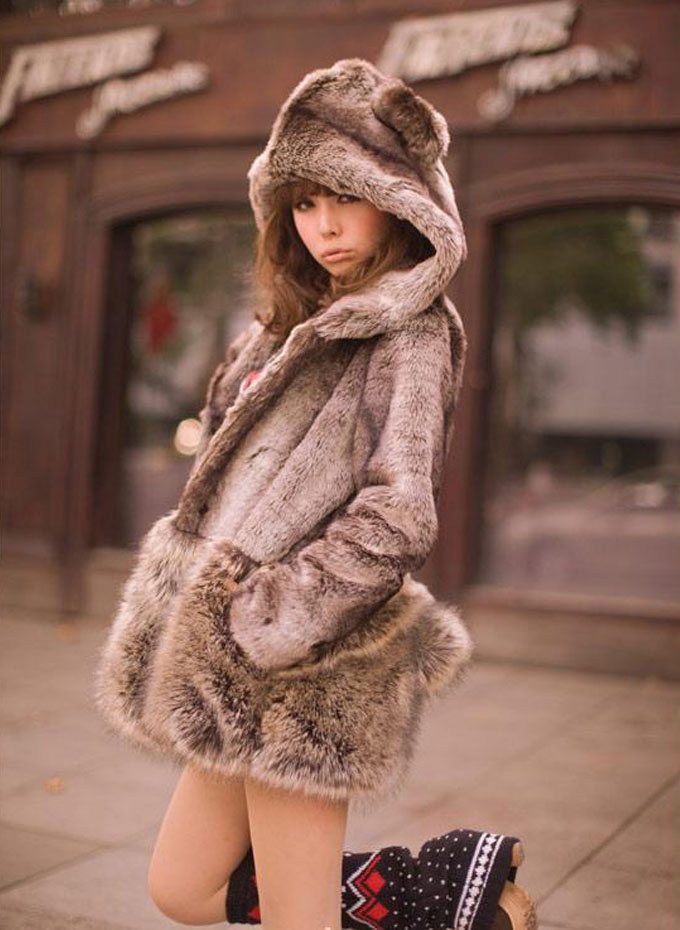 Images of Fur Coat With Hood - Reikian