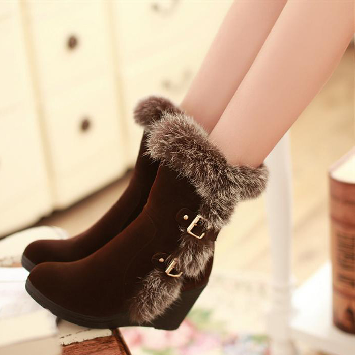 High Heels,Fashion Buckle Snow Boots,Boots For Women,Black Boots ...