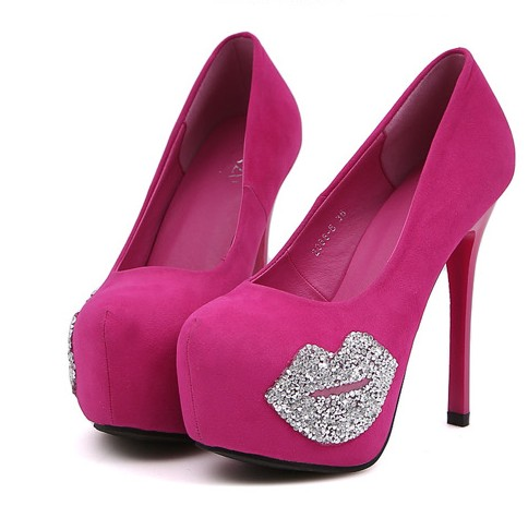 Sexy Diamante Rose Pink And Black High Heel Pumps on Luulla