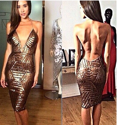 Black and gold sequined deep V-neck halter dress