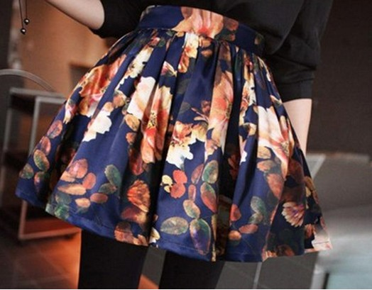 Floral Print High Rise Short Ruffled Skater Skirt
