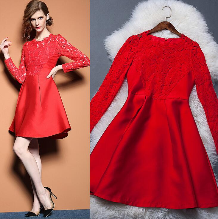 Red long sleeve lace hollow out the dress