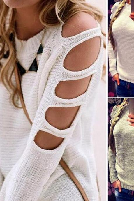 Round neck collar sweater sexy hollow long-sleeved knitting bottoming shirt female