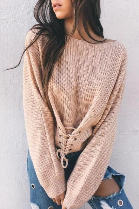 Black Lace Up Knitted Pullover Sweater Women Elastic Long Sleeve Jumper Casual Autumn Winter Knitting Pullovers