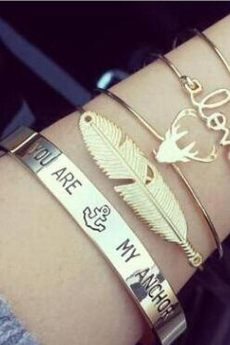 Love character cute letter antlers feather shape alloy opening bracelet