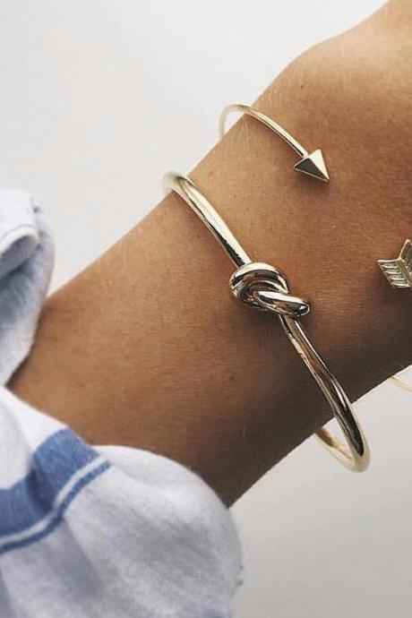 Fashionable new women's arrow knot bracelet set