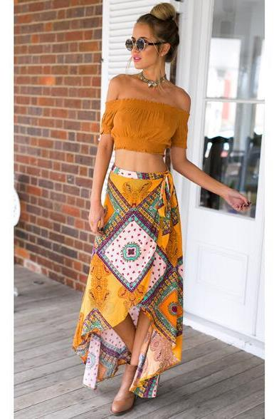 Women's bohemian Dovetail irregular half-length skirt
