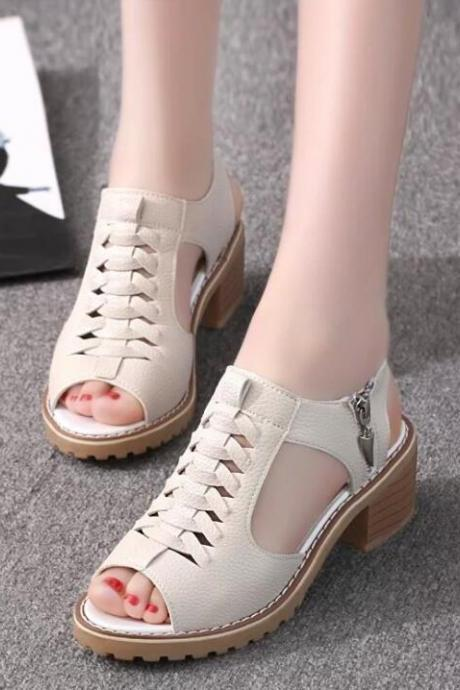 Flat waterproof platform beef bottom female sandals fish mouth side zipper retro wild shoes