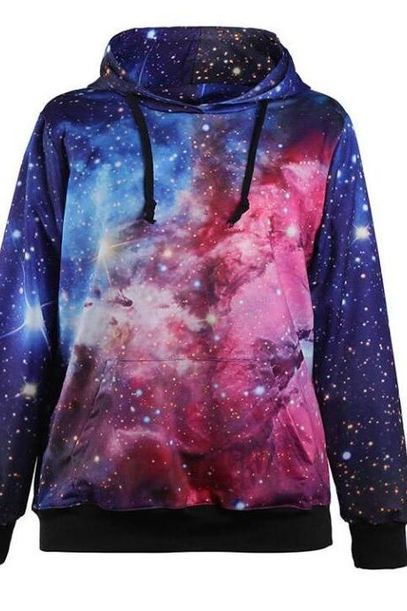 Women's Sports Sweater 3D Print Star Pattern Long Sleeve Hooded Hooded Women's Jacket