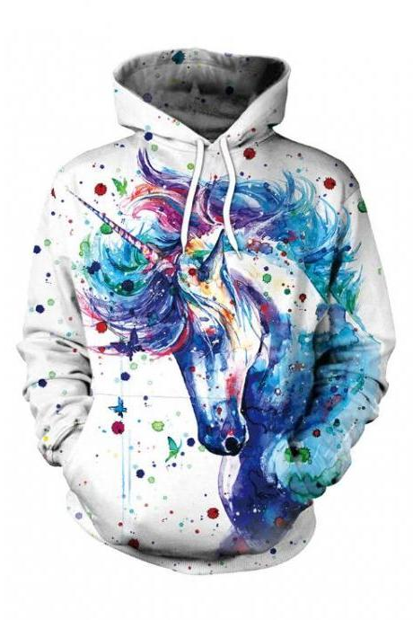 Women's Sports Sweater 3D Print Unicorn Pattern Long Sleeve Hooded Hooded Women's Jacket