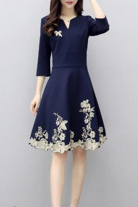 Fashion Slim Embroidery V-neck Sleeve A-line Long Waist Dress
