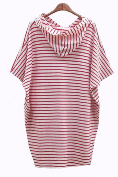 Hooded Striped Short Shift Dress with Short Bat Sleeves