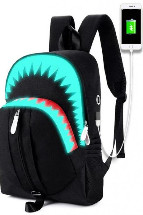 Luminous shoulder bag male big mouth shark USB function backpack student school bag