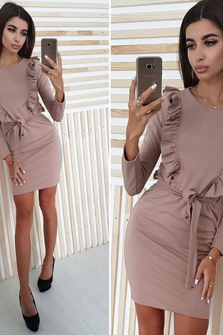 Female ruffled long sleeve dress