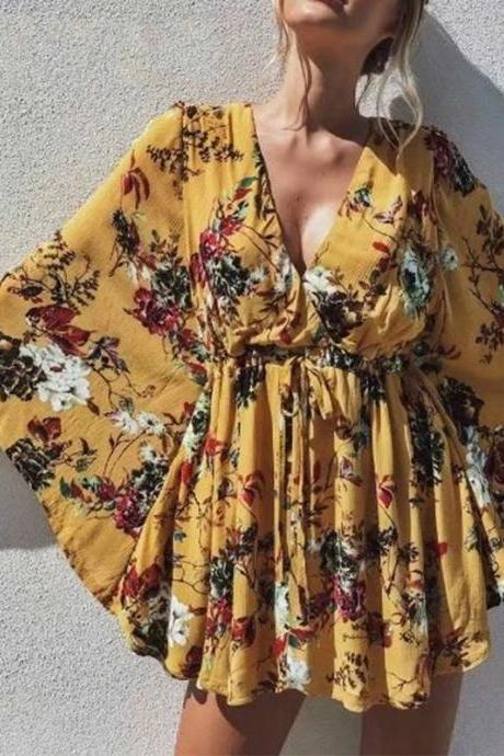 Beautiful Floral Print V Neck summer dress