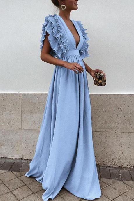 Elegant Ruffled Summer V Neck Long Dress