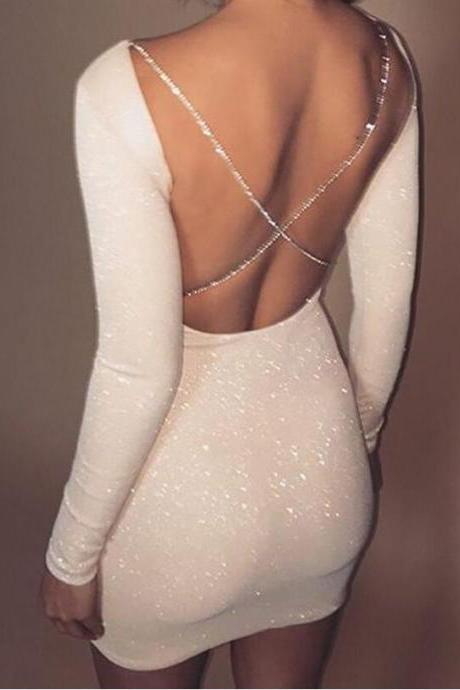 White Sexy Back Long Sleeve Bodycon Party Dress