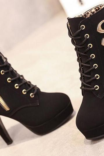 Stylish Buckle Design Ankle Boots
