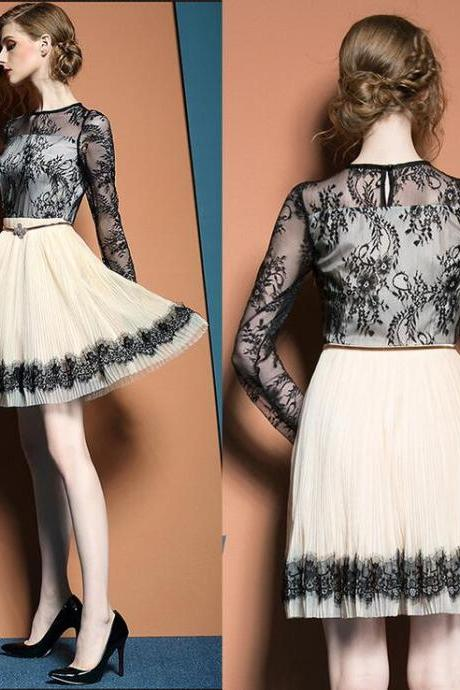 Sexy lace joining together, cultivate one's morality dress