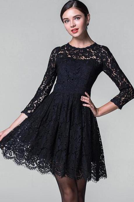 Lace hollow-out long-sleeved dress