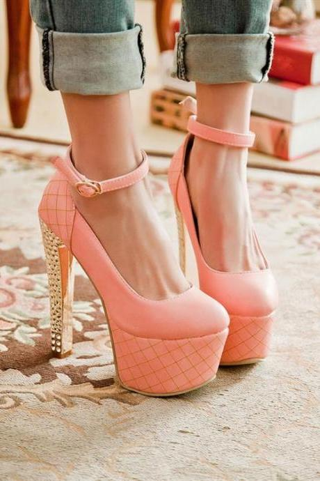 Gorgeous Pink Ankle Strap High Heels Shoes