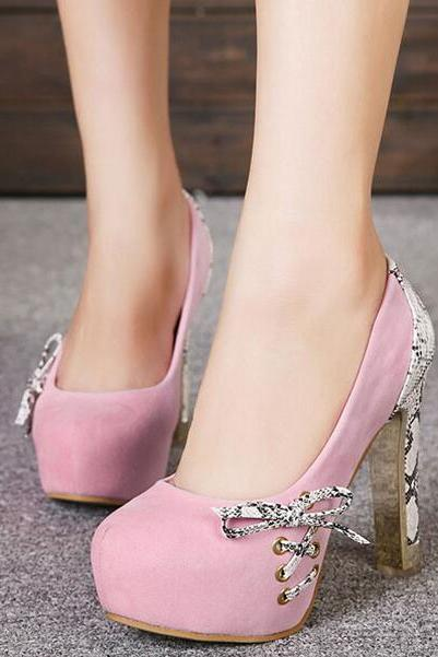 Nice Pink Bow Knot High Heels Party Shoes