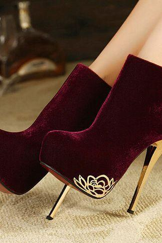 Classy Wine Red High Heel Winter Boots