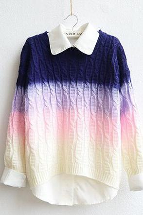 Fashion gradient color pullover sweater