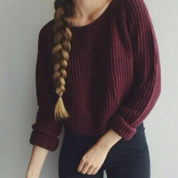 Burgundy Knitted Bateau Neck Long Cuffed Sleeves Cropped Sweater