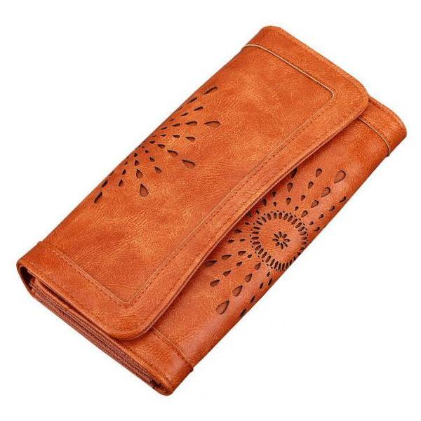 2017 autumn and winter new long wallet fashion openwork lady wallet