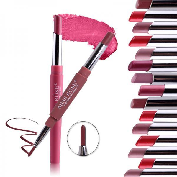 8 Colors 2 In 1 Lip Liner Pencil Lipstick Lip Beauty Makeup Waterproof Nude Color Cosmetics Lipliner Pen Lip Stick