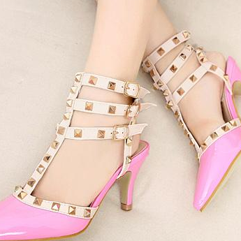 Candy color sexy pointy shoes Rivet high-heeled shoes