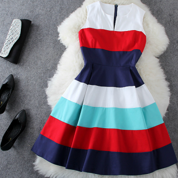 Wide colour stripes, sleeveless pure color princess dress
